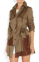Thakoon Addition Leathertrimmed Cottonblend Canvas Trench Coat - Lyst