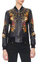 Dolce & Gabbana Floralkey Print Baseball Leather Jacket - Lyst