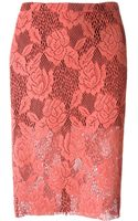 MSGM Floral Lace Pencil Skirt - Lyst