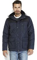 Izod Navy Diamond Quilted Hooded Coat - Lyst