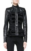 Oscar de la Renta Silk Leather Jacket - Lyst