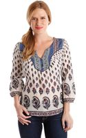 Lucky Brand Indian Boho Mixed Print Top - Lyst