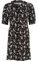 River Island Black Ditsy Print Button Down Shift Dress - Lyst