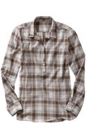 Gap Fitted Boyfriend Plaid Popover Shirt - Lyst