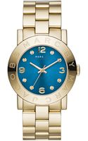Marc By Marc Jacobs 36mm Amy Crystal Analog Watch with Bracelet Strap Goldenblue - Lyst