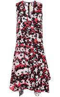 Marni Floral Print Silk Twill V-Neck Dress - Lyst