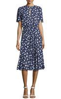 Michael Kors Pansy Flutter-sleeve Floral Dress - Lyst