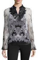 Alberto Makali Silk Printed Split-neck Blouse - Lyst