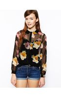 Asos Long Sleeve Blouse with Peter Pan Collar in Dark Floral Print - Lyst