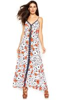Michael Kors Michael Daisy-print Lace-up Maxi Dress - Lyst