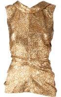 Oscar de la Renta Textured Metallic Blouse - Lyst