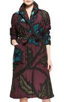 Burberry Prorsum 34sleeve Floralprint Coat - Lyst