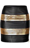 Emanuel Ungaro Metallic Leather Laser Cut Skirt - Lyst