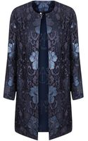 Topshop Lace Overlay Coat - Lyst