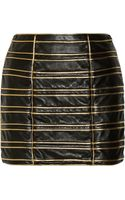 Balmain Cord Embellished Leather Mini Skirt - Lyst