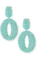 Oscar de la Renta Oscar O Beaded Clip Earrings - Lyst