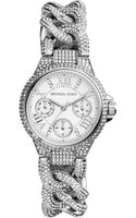 Michael Kors Mini Silver Color Stainless Steel Camille Threehand Twisted Glitz Watch - Lyst