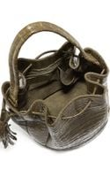 Nancy Gonzalez Medium Crocodile Tassel Bucket Bag Army Green - Lyst