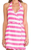 Juicy Couture Sixties Stripe Wrap Cover Up Dress in Pink - Lyst