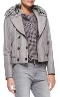 Brunello Cucinelli Reversible Leather Bomber Jacket with Fur Collar - Lyst