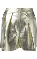 MSGM Metallic Pleated Shorts - Lyst
