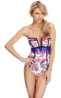 Nanette Lepore Fleur De La Mer Bandeau One Piece Swimsuit - Lyst