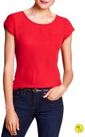 Banana Republic Factory Cap Sleeve Pocket Blouse Pure Red - Lyst