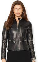 Lauren by Ralph Lauren Petite Leather Moto Jacket - Lyst