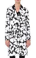 Hugo Boss Floraljacquard Cottonblend Coat Blackwhite - Lyst