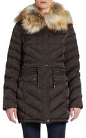 Laundry By Shelli Segal Faux-fur Trimmed Puffer Jacket - Lyst