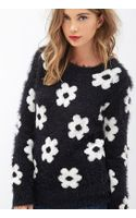Forever 21 Fuzzy Daisy Sweater - Lyst
