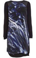 Karen Millen Brushstroke Print Tshirt Dress - Lyst
