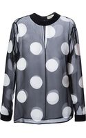 Saint Laurent Sheer Polka Dot Blouse - Lyst