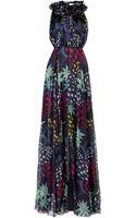 Matthew Williamson 3d Star Print Silk Chiffon Ruffle Neck Evening Gown - Lyst