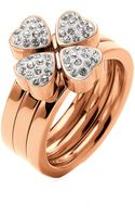 Folli Follie Rose Goldplated Heart4heart Ring - Lyst