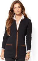 Lauren by Ralph Lauren Faux Suede Trim Cotton Sweater - Lyst