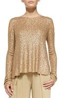 Donna Karan New York Sequined Cashmere Easy Cold-shoulder Top - Lyst