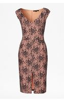 French connection Lara Lace V Neck Cap Sleeve Dress - Lyst