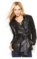 Inc International Concepts Petite Mixedmedia Fauxleather Belted Trench Coat - Lyst