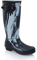 Hunter Black and White Original Nightfall Wellington Boots - Lyst