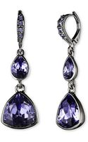 Givenchy Hematitetone Tanzanite Crystal Double Drop Earrings - Lyst