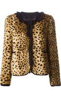 Hache Fringe Detail Leopard Print Jacket - Lyst