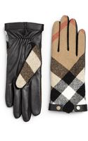 Burberry Checked Leather Gloves - Lyst