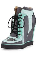 L.a.m.b. Summer Snakeprint Wedge Sneaker Blackmint 8 12 - Lyst