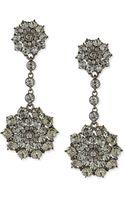 Oscar de la Renta Gray Crystal Drop Clipon Earrings - Lyst