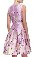 Oscar de la Renta Sleeveless Seamed Aline Floral Dress Lilac - Lyst