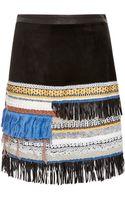 Derek Lam 10 Crosby Embellished Suede Skirt - Lyst