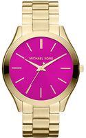 Michael Kors Ladies Goldtone Slim Runway Watch - Lyst