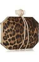 Marchesa Iris Leopardprint Calf Hair Box Clutch - Lyst