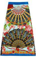 Dolce & Gabbana Printed Brocade Midi Skirt - Lyst